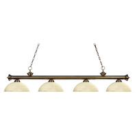 Z-Lite 200-4AB-DGM14 Riviera 4 Light 80 inch Antique Brass Island Light Ceiling Light in Golden Mottle Dome