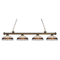 Riviera 4 Light 80 inch Antique Brass Island Light Ceiling Light in Multi Colored Tiffany Glass (F14-1)