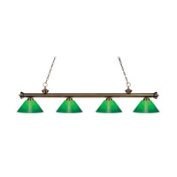 Riviera 4 Light 80 inch Antique Brass Island Light Ceiling Light in Green Cased