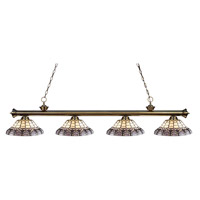 Z-Lite Riviera 4 Light Island Light in Antique Brass 200-4AB-H14-4
