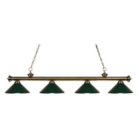 Z-Lite 200-4AB-MDG Riviera 4 Light 80 inch Antique Brass Island Light Ceiling Light in Dark Green Metal