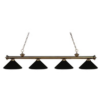 Z-Lite 200-4AB-MMB Riviera 4 Light 80 inch Antique Brass Island Light Ceiling Light in Matte Black Metal