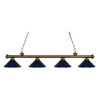 Z-Lite 200-4AB-MNB Riviera 4 Light 80 inch Antique Brass Island Light Ceiling Light in Navy Blue Metal