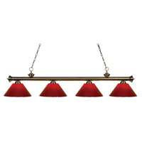 Z-Lite 200-4AB-PRD Riviera 4 Light 80 inch Antique Brass Island Light Ceiling Light in Red Plastic