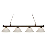 Z-Lite 200-4AB-PWH Riviera 4 Light 80 inch Antique Brass Island Light Ceiling Light in White Plastic