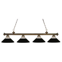 Riviera 4 Light 80 inch Antique Brass Island Light Ceiling Light in Clear Ribbed and Matte Black