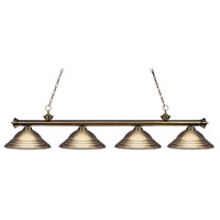 Riviera 4 Light 82 inch Antique Brass Island Light Ceiling Light in Stepped Antique Brass