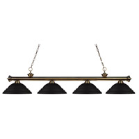 Riviera 4 Light 82 inch Antique Brass Island Light Ceiling Light in Stepped Matte Black