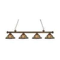 Riviera 4 Light 80 inch Antique Brass Island Light Ceiling Light in Multi Colored Tiffany Glass (10)