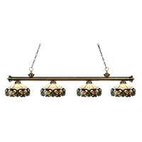 Riviera 4 Light 80 inch Antique Brass Island Light Ceiling Light in Multi Colored Tiffany Glass (33)