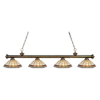 Z-Lite 200-4AB-Z14-35 Riviera 4 Light 80 inch Antique Brass Island Light Ceiling Light in Multi Colored Tiffany Glass (35)