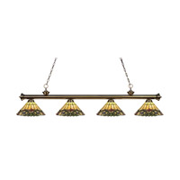 Riviera 4 Light 80 inch Antique Brass Island Light Ceiling Light in Multi Colored Tiffany Glass (49)