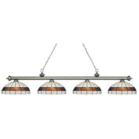 Riviera 4 Light 81 inch Antique Silver Island Light Ceiling Light in Multi Colored Tiffany Glass (F14-1)