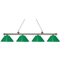 Riviera 4 Light 81 inch Antique Silver Island Light Ceiling Light in Green Plastic