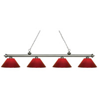 Riviera 4 Light 81 inch Antique Silver Island Light Ceiling Light in Red Plastic