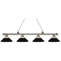 Z-Lite 200-4AS-RMB Riviera 4 Light 81 inch Antique Silver Island/Billiard Ceiling Light in Clear Ribbed and Matte Black