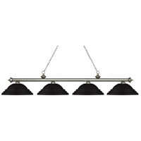Z-Lite 200-4AS-SMB Riviera 4 Light 82 inch Antique Silver Island/Billiard Ceiling Light in Stepped Matte Black