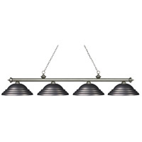 Z-Lite 200-4AS-SOB Riviera 4 Light 82 inch Antique Silver Island/Billiard Ceiling Light in Stepped Olde Bronze