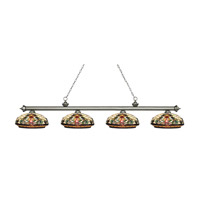 Riviera 4 Light 81 inch Antique Silver Island Light Ceiling Light in Multi Colored Tiffany Glass (34)