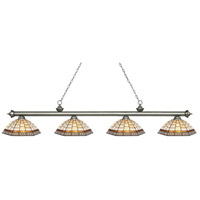 Riviera 4 Light 81 inch Antique Silver Island Light Ceiling Light in Multi Colored Tiffany Glass (35)