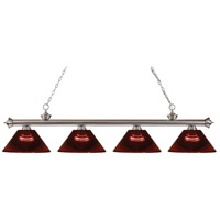 Riviera 4 Light 80 inch Brushed Nickel Island Light Ceiling Light in Acrylic Burgundy