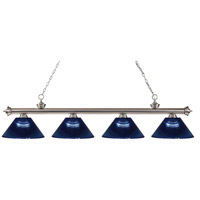 Riviera 4 Light 80 inch Brushed Nickel Island Light Ceiling Light in Acrylic Dark Blue