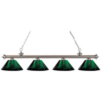 Z-Lite 200-4BN-ARG Riviera 4 Light 80 inch Brushed Nickel Island/Billiard Ceiling Light in Acrylic Green