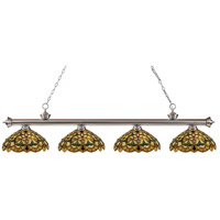 Riviera 4 Light 80 inch Brushed Nickel Island Light Ceiling Light in Multi Colored Tiffany Glass (C14)