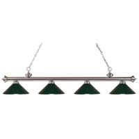 Riviera 4 Light 80 inch Brushed Nickel Island Light Ceiling Light in Dark Green Metal