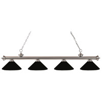 Riviera 4 Light 80 inch Brushed Nickel Island Light Ceiling Light in Matte Black Metal