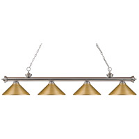 Riviera 4 Light 80 inch Brushed Nickel Billiard Light Ceiling Light