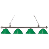 Riviera 4 Light 80 inch Brushed Nickel Island Light Ceiling Light in Green Plastic