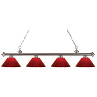 Riviera 4 Light 80 inch Brushed Nickel Island Light Ceiling Light in Red Plastic