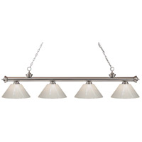 Riviera 4 Light 80 inch Brushed Nickel Island Light Ceiling Light in White Plastic