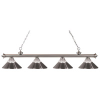 Z-Lite 200-4BN-RBN Riviera 4 Light 80 inch Brushed Nickel Island/Billiard Ceiling Light in Clear Ribbed and Brushed Nickel