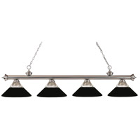 Z-Lite 200-4BN-RMB Riviera 4 Light 80 inch Brushed Nickel Island/Billiard Ceiling Light in Clear Ribbed and Matte Black