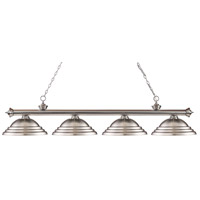 Riviera 4 Light 82 inch Brushed Nickel Island Light Ceiling Light in Stepped Brushed Nickel