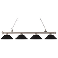 Z-Lite 200-4BN-SMB Riviera 4 Light 82 inch Brushed Nickel Island/Billiard Ceiling Light in Stepped Matte Black