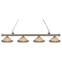 Z-Lite 200-4BN-Z14-35 Riviera 4 Light 80 inch Brushed Nickel Island Light Ceiling Light in Multi Colored Tiffany Glass (35)