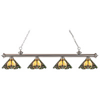 Z-Lite 200-4BN-Z14-37 Riviera 4 Light 80 inch Brushed Nickel Island Light Ceiling Light in Multi Colored Tiffany Glass (37)