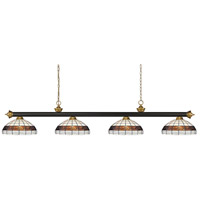 Z-Lite 200-4BRZ+SG-F14-1 Riviera 4 Light 80 inch Bronze and Satin Gold Island/Billiard Ceiling Light