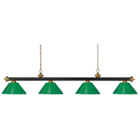 Z-Lite 200-4BRZ+SG-PGR Riviera 4 Light 80 inch Bronze and Satin Gold Island/Billiard Ceiling Light