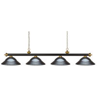 Riviera 4 Light 82 inch Bronze and Satin Gold Billiard Light Ceiling Light