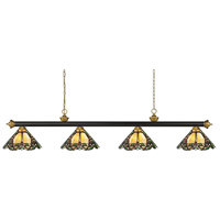 Riviera 4 Light 80 inch Bronze and Satin Gold Billiard Light Ceiling Light