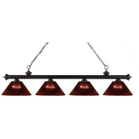 Riviera 4 Light 80 inch Bronze Island Light Ceiling Light in Acrylic Burgundy