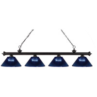 Riviera 4 Light 80 inch Bronze Island Light Ceiling Light in Acrylic Dark Blue