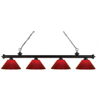 Riviera 4 Light 80 inch Bronze Island Light Ceiling Light in Red Plastic