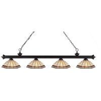 Riviera 4 Light 80 inch Bronze Island Light Ceiling Light in Multi Colored Tiffany Glass (35)