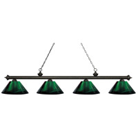 Z-Lite 200-4GB-ARG Riviera 4 Light 81 inch Golden Bronze Island Light Ceiling Light in Acrylic Green