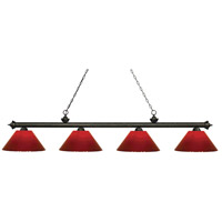 Riviera 4 Light 81 inch Golden Bronze Island Light Ceiling Light in Red Plastic